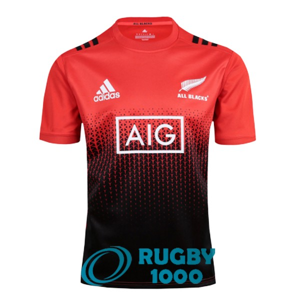maillot rugby all blacks entrainement rouge noir 2017