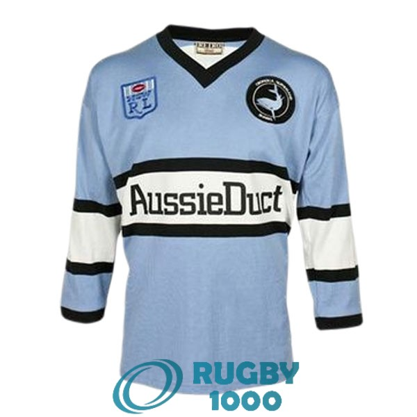maillot rugby cronulla sutherland sharks manche longue rerto 1988