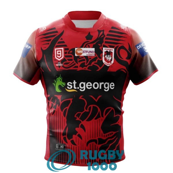 maillot rugby st george illawarra dragons 9s rouge noir 2020-2021