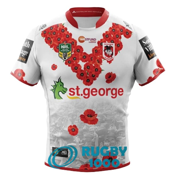 maillot rugby st george illawarra dragons commemorative 2018-2019