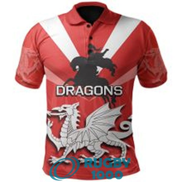 polo rugby st george illawarra dragons rouge blanc 2021