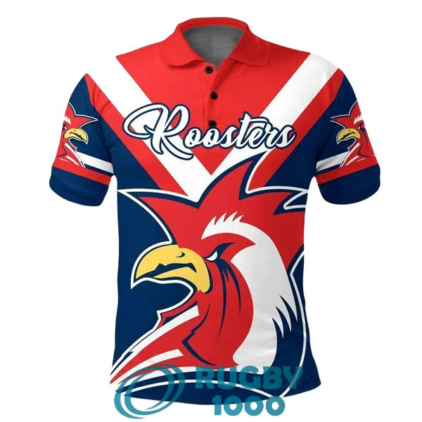 polo rugby sydney roosters rouge blanc bleu 2020-2021
